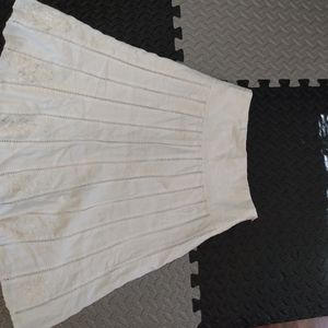 Mnml White swing skirt with embroidery